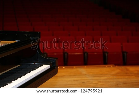 Concert grand piano, view from stage-color version-with space for advertisement
