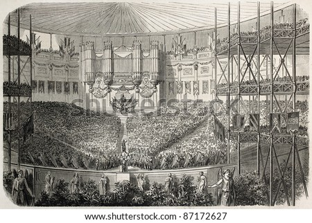 Concert in Crystal Palace, London. Created by Gaildrau, published on L'Illustration, Journal Universel, Paris, 1860