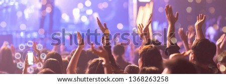 Concert On Stage Show, Entertainment Music Light and Sound, Concert Festival Music, Event Management Performance.  Digital Technology Social Job Everywhere.  Social Online Marketing.
