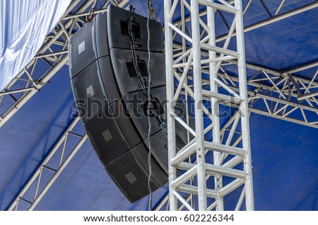 Concert sound system on metal structures at height outdoor