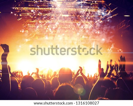 Concert spectators in front of a bright stage with live music, fireworks are visible in the air.