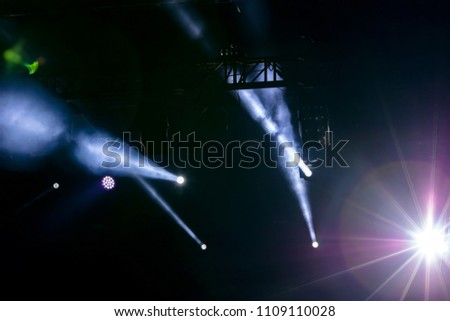 concert stage view, lights of projector equipment over dark stage #1109110028