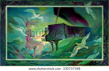 Stock Photo Concerto for Orchestra and Sea. Oil painting on wood.
