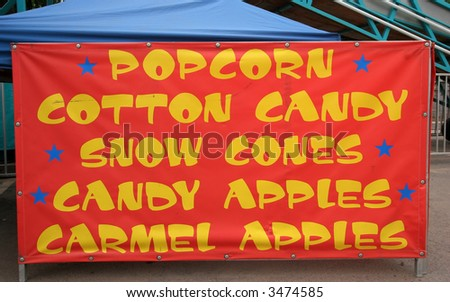 concession sign for various food snacks