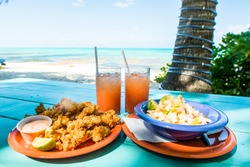 conch fritters and conch salad with punch