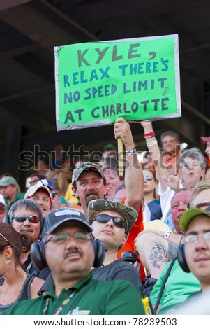 CONCORD, NC - MAY 29, 2011:  Kyle Busch fans show their support for their driver during the Coca-Cola 600 race at the Charlotte Motor Speedway in Concord, NC on May 29, 2011.