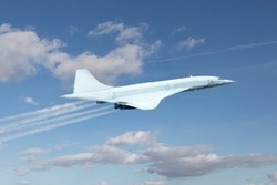 Concorde airplane as representation of generic supersonic plane, symbol of the future of the passenger aviation