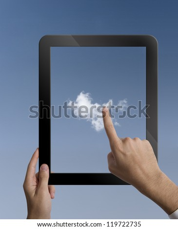 Concpet of cloud computing with  a tablet
