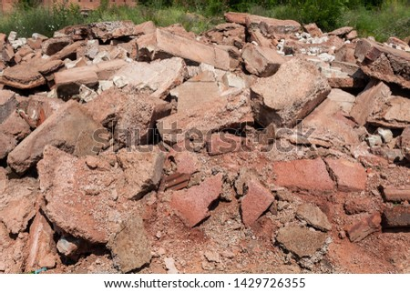 Concrete and Brick Rubble Debris After a Demolition