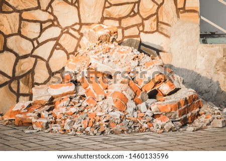 Concrete and brick rubble debris on construction site