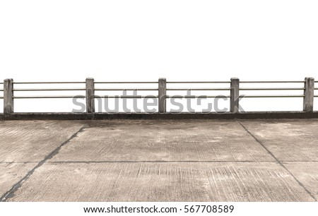 concrete and stainless steel fence construction isolated on white background. #567708589