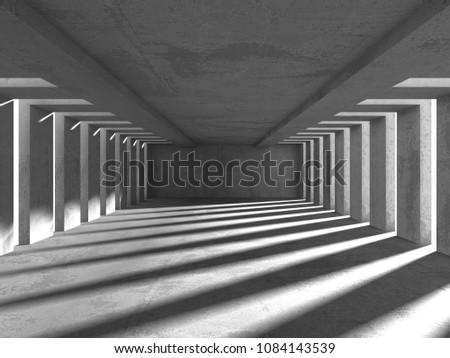 Concrete architecture background. Abstract empty dark room. 3d render illustration #1084143539