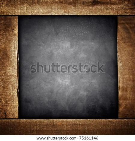 concrete background with wooden frame