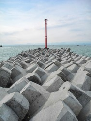 concrete beach barrier view