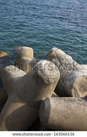 Concrete blocks at the coast, Ravello, Amalfi Coast, Salerno, Campania, Italy #163066136