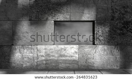 concrete blocks empty room with hole in the wall with grey sky view