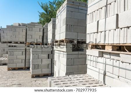 Concrete blocks on pallets