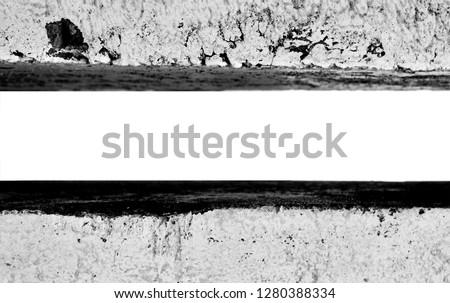 Concrete border (pillar, curb) close, isolated. Black and white