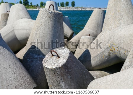 Concrete breakwaters along the shores of Tallin #1169586037