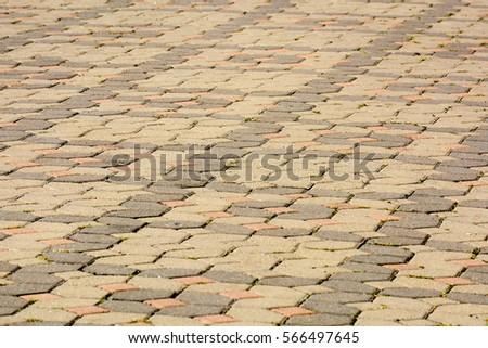 concrete brick floor in urban city street background  #566497645