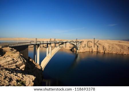 Concrete bridge on Pag island in Croatia