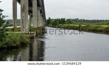 Concrete bridge over waterway
