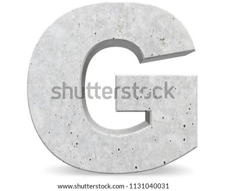 Concrete Capital Letter - G isolated on white background . 3D render Illustration Stock fotó ©