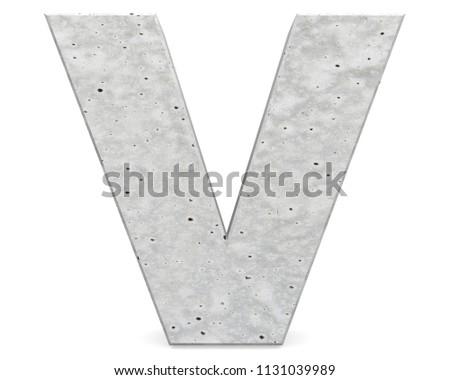 Concrete Capital Letter - V isolated on white background . 3D render Illustration Photo stock ©