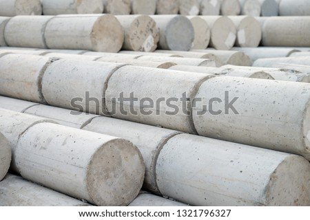 Concrete cylinder for compression strength Test, checking of concrete quality during cube demolition test. picture use for construction and industry concept.