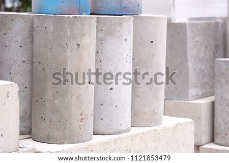 Concrete cylinder for compressive strength test, Checking of concrete quality during cube demolition test. Picture using as education, construction business, council of engineering university.