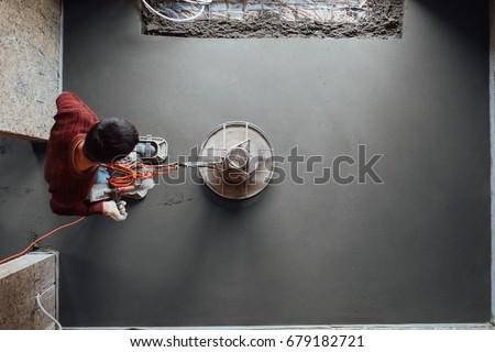 concrete floor final grinding, top view #679182721