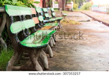 Concrete garden chair.Vintage garden chair.