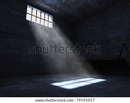 concrete grunge jail and light from window
