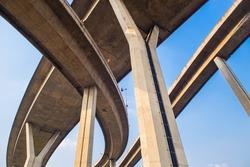 Concrete highway overpass Bhumibol Bridge in Thailand. The bridge crosses the Chao Phraya River twice.