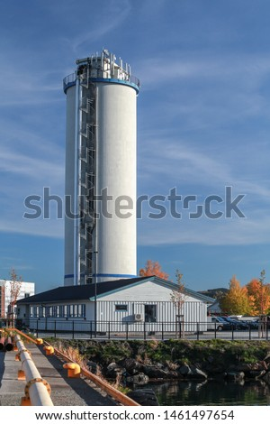 Concrete industrial tower in port of Levanger, Norway #1461497654