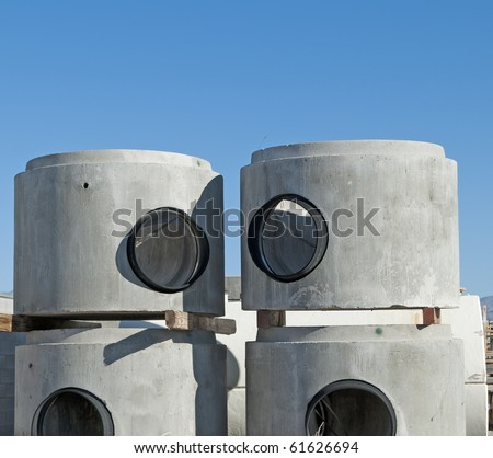 Concrete Manhole Chamber Sections - stock photo