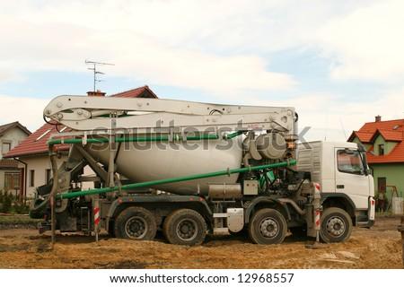 Concrete mixer truck. Construction industry heavy vehicle.
