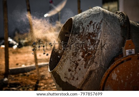 Concrete mixer with sand and stones - Shutterstock ID 797857699