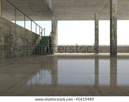 concrete parking and modern  stairway - stock photo