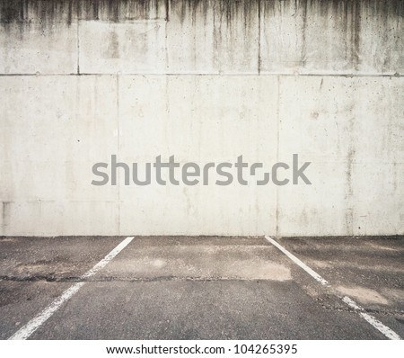 Concrete parking lot wall