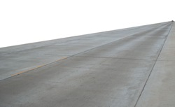 Concrete pavement road with longitudinal joint and construction joint.Empty concrete road on white background with clipping path.