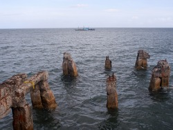 Concrete pier remnants left by strong typhoon sea waves