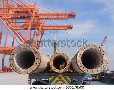 Concrete pile to delivered at the port for marine work and port constructions.