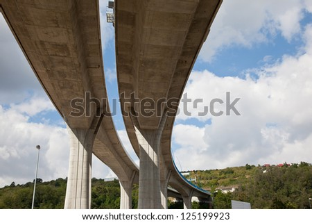 Concrete pilons supporting elevated highway