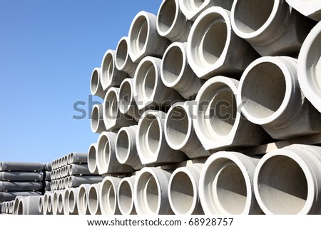 Concrete pipes - stock photo