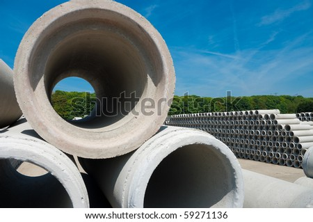 Concrete pipes on a large storage area they are used for culverts