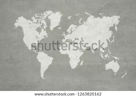 Concrete plaster cement polishing loft style wall or floor texture abstract texture surface background use for background with world map