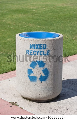Concrete recycle bin in park