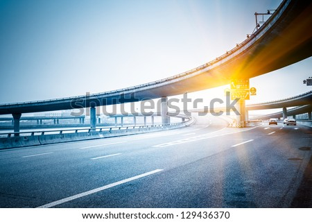 concrete road curve of viaduct in shanghai china outdoor. #129436370