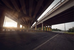 Concrete road straight line of viaduct in Montreal, Canada outdoor.